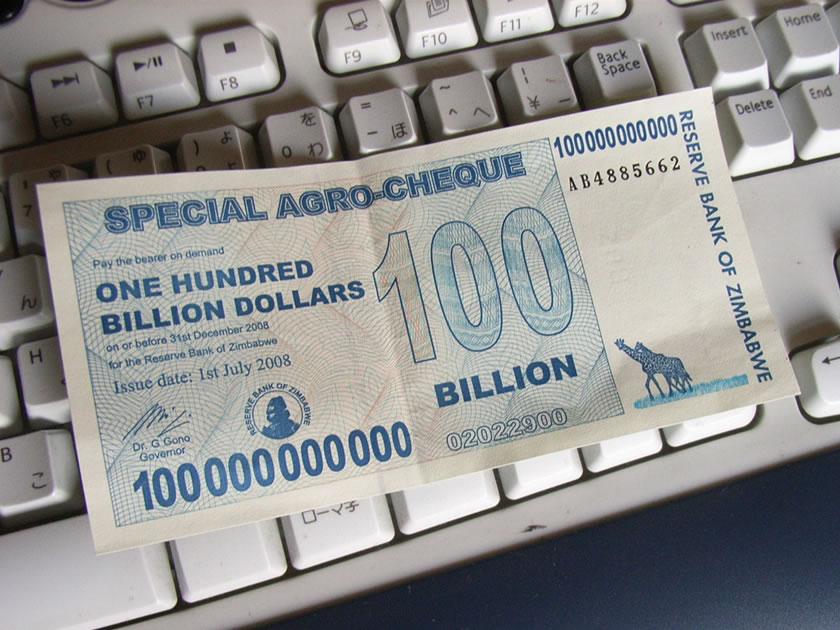ジンバブエの1000億ドル札です
